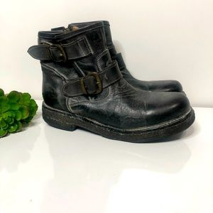 Bed Stu Spunky Moto Black Leather Ankle Boots